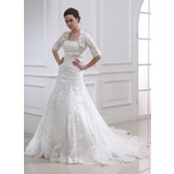 Empire Strapless Chapel Train Satin Tulle Wedding Dress With Lace Beadwork (002011990)