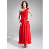 A-Line/Princess One-Shoulder Ankle-Length Chiffon Bridesmaid Dress With Ruffle