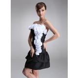 A-Line/Princess Strapless Short/Mini Taffeta Cocktail Dress With Ruffle Flower(s) (016005267)