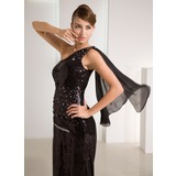 Sheath One-Shoulder Sweep Train Chiffon Sequined Prom Dress With Beading