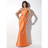 Trumpet/Mermaid Sweetheart Floor-Length Satin Bridesmaid Dress With Ruffle Bow(s)