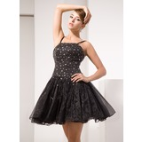 A-Line/Princess Short/Mini Organza Cocktail Dress With Beading Sequins