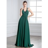 Empire Halter Watteau Train Chiffon Prom Dress With Ruffle Beading (018004885)