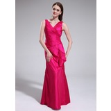 Sheath V-neck Floor-Length Taffeta Bridesmaid Dress With Ruffle (007025366)