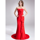 Sheath Sweetheart Court Train Chiffon Evening Dress With Ruffle