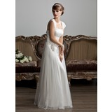 A-Line/Princess Square Neckline Floor-Length Tulle Wedding Dress With Ruffle Beadwork