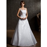 A-Line/Princess Square Neckline Floor-Length Organza Satin Wedding Dress With Lace Beadwork Flower(s)