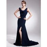 Trumpet/Mermaid Cowl Neck Court Train Chiffon Mother of the Bride Dress With Ruffle Split Front