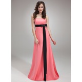 Empire Strapless Sweep Train Satin Bridesmaid Dress With Sash Beading