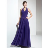 A-Line/Princess Halter Floor-Length Chiffon Bridesmaid Dress With Ruffle Beading