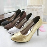 Leatherette Sparkling Glitter Stiletto Heel Closed Toe Pumps (085015188)
