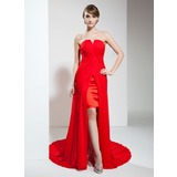 Sheath Sweetheart Asymmetrical Chiffon Prom Dress With Ruffle