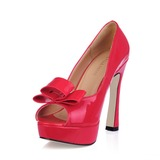 Patent Leather Chunky Heel Peep Toe Platform Sandals With Bowknot