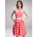 A-Line/Princess Strapless Knee-Length Chiffon Charmeuse Bridesmaid Dress With Sash Beading Cascading Ruffles
