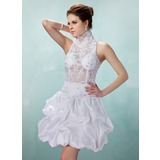 A-Line/Princess High Neck Short/Mini Taffeta Lace Cocktail Dress With Ruffle Beading (016008897)