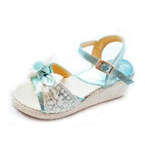 Kids' Leatherette Wedge Heel Flats Sandals With Bowknot