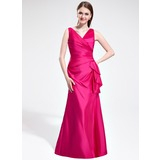 Mermaid V-neck Floor-Length Taffeta Bridesmaid Dress With Ruffle