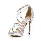 Patent Leather Stiletto Heel Sandals Slingbacks shoes (087017925)