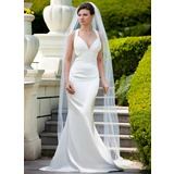 Mermaid V-neck Sweep Train Charmeuse Wedding Dress With Ruffle Beadwork Sequins