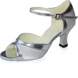 Satin Patent Leather Heels Sandals Latin Dance Shoes With Ankle Strap
