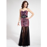 Mermaid Sweetheart Floor-Length Tulle Sequined Prom Dress With Sash Beading