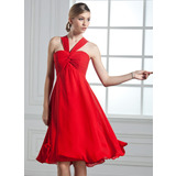 Empire V-neck Knee-Length Chiffon Bridesmaid Dress With Ruffle Bow(s)