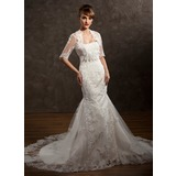 Trumpet/Mermaid Sweetheart Chapel Train Satin Tulle Wedding Dress With Lace Beading Flower(s)