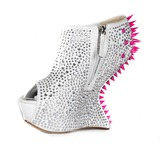 Velvet Wedge Heel Peep Toe Platform Sandals With Rhinestone Rivet