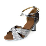 Leatherette Sparkling Glitter Heels Sandals Latin Dance Shoes With Ankle Strap