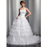 Ball-Gown One-Shoulder Court Train Organza Satin Wedding Dress With Lace Sequins Cascading Ruffles