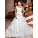 A-Line/Princess Sweetheart Chapel Train Organza Satin Wedding Dress With Beading Sequins Cascading Ruffles