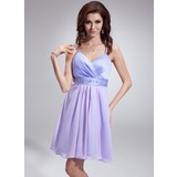 Empire V-neck Short/Mini Chiffon Satin Bridesmaid Dress With Ruffle Beading Sequins