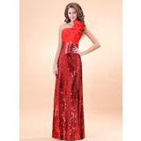 Sheath/Column One-Shoulder Floor-Length Charmeuse Sequined Evening Dress With Ruffle