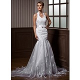 Trumpet/Mermaid Halter Court Train Organza Charmeuse Wedding Dress With Lace Beading Bow(s)