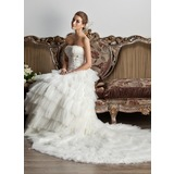 Ball-Gown Strapless Chapel Train Satin Tulle Wedding Dress With Ruffle Lace Beadwork Sequins (002013805)