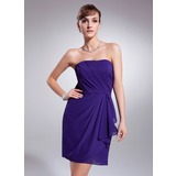Sheath Strapless Short/Mini Chiffon Homecoming Dress With Ruffle