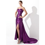 Sheath Sweetheart Court Train Charmeuse Evening Dress With Ruffle Beading (017004174)