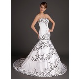 Mermaid Sweetheart Sweep Train Satin Wedding Dress With Embroidery
