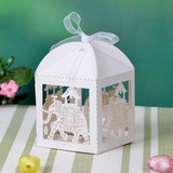 Lovely Elephant Cuboid Favor Boxes With Ribbons (Set of 12)