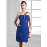 Sheath/Column One-Shoulder Short/Mini Chiffon Holiday Dress With Ruffle Beading (020003281)