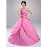 Ball-Gown Square Neckline Floor-Length Organza Quinceanera Dress With Ruffle Lace Beading