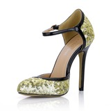Patent Leather Sparkling Glitter Stiletto Heel Closed Toe Pumps With Buckle