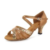 Women's Satin Sparkling Glitter Heels Sandals Latin Salsa With Buckle Dance Shoes