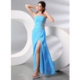 Sheath Strapless Floor-Length Chiffon Evening Dress With Lace Beading Sequins