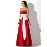 Empire Strapless Floor-Length Taffeta Bridesmaid Dress With Sash