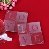 """Love"" Glass Coaster (Set of 2)"