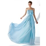 A-Line/Princess Strapless Floor-Length Chiffon Satin Evening Dress With Ruffle Beading Crystal Brooch