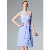 Empire One-Shoulder Knee-Length Chiffon Bridesmaid Dress With Cascading Ruffles