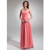 Empire Strapless Floor-Length Chiffon Bridesmaid Dress With Ruffle Bow(s)