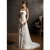 A-Line/Princess Sweetheart Sweep Train Chiffon Charmeuse Wedding Dress With Lace Beading Sequins Cascading Ruffles